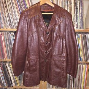 Vintage 1970s oxblood leather pea coat jacket